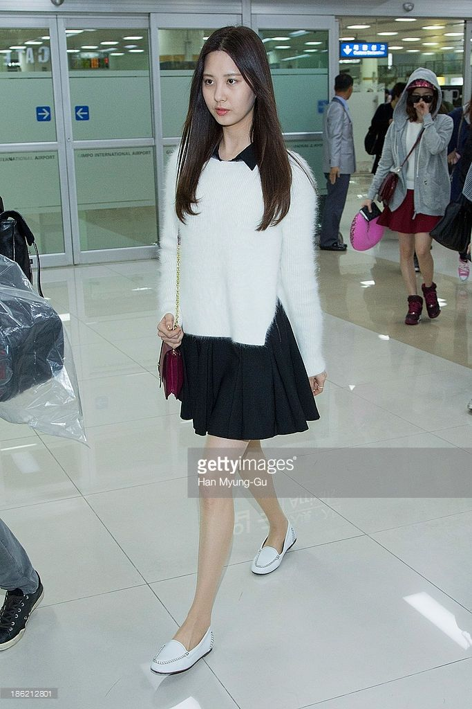 Seohyun of South Korean girl group Girls' Generation is seen upon arrival at the Gimpo Airport on October 28, 2013 in Seoul, South Korea.