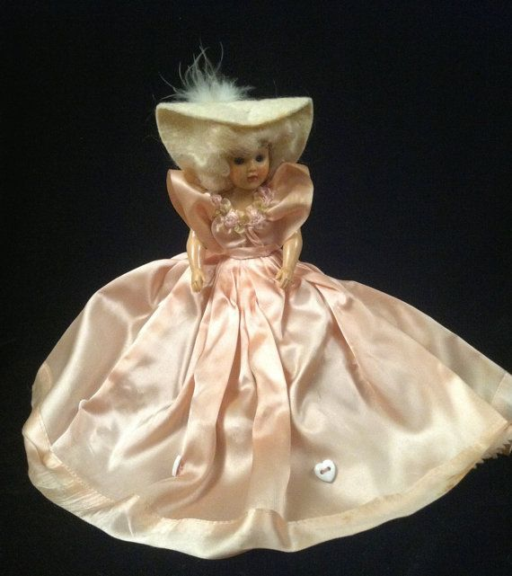 Vintage 1948 Storybook Doll Duchess Doll Corp Sleepy Eyes Jointed Pink Dress and Hat
