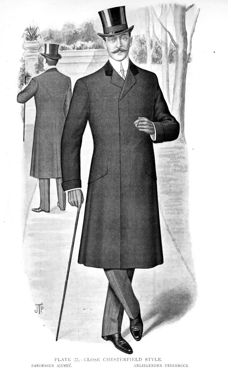 6. The Crinoline Period: Chesterfield jacket for men with top-hat, not as high as it used to be. Lapel is velvet-faced