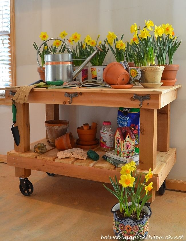 DIY Potting Bench, Pottery Barn Abbott Inspired by Between Naps on the Porch