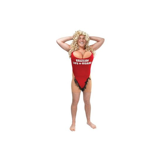 Funny strandwacht kostuum voor heren. Funny strandwacht kostuum bestaande uit een jumpsuit met badpak en nep borsten. De jumpsuit valt tot de bovenbenen en het badpak zit aan de jumpsuit vast. Verras je vrienden met dit grappige kostuum! Maat: one size M/L. Carnavalskleding 2015 #carnaval