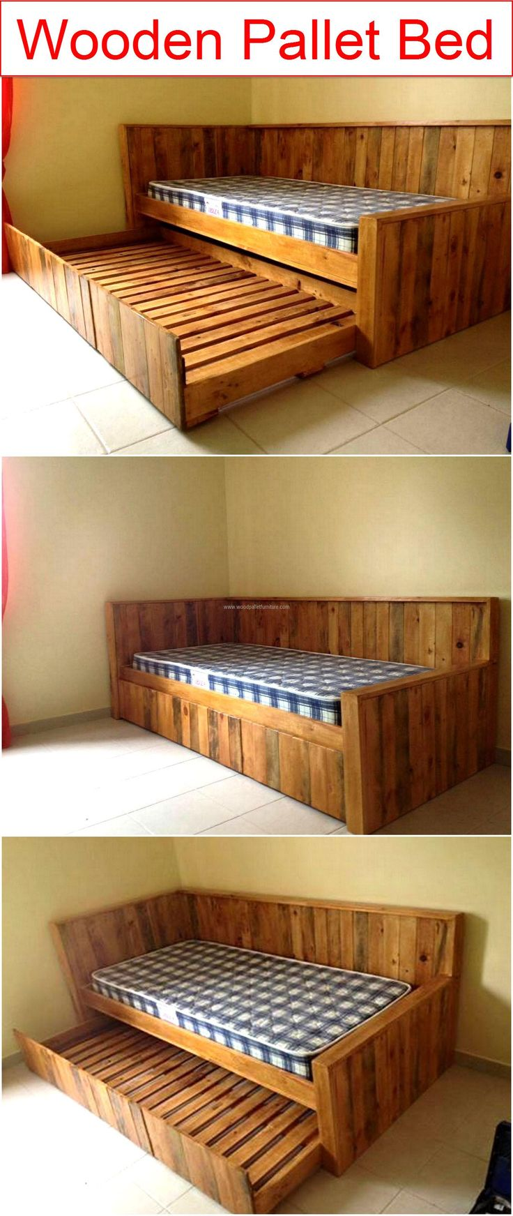 Single pallet bed frame - Wooden Pallet Bed