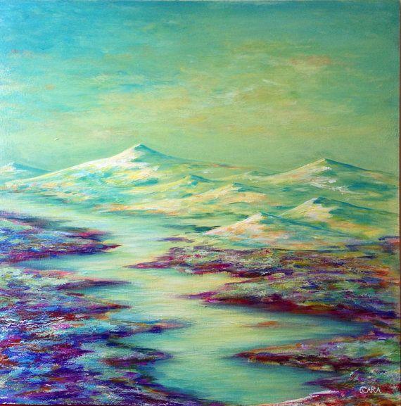 Paisaje montañas nevadas por LaDamaBoba en Etsy