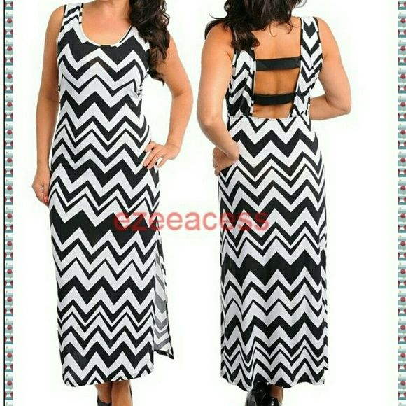 """Brand new plus size chevron long maxi dress sexy Look stunning in this Gorgeous sexy chevron /zig zag maxi summer sun dress.  ***Lightweight summer stretchy fabric .  Trendy Chevron /zigzag pattern backless style with (elastic) strap back 19-20"""" Slit at one side . versatile use them as formal/causal wear/club wear or simply a summer/sun/beach dress.  KINDLY CHECK MEASUREMENTS before picking your size to ensure the right fit .Thanks  Total Length:53"""" -----------------SLIT :19-20"""" (IS JUST At…"""