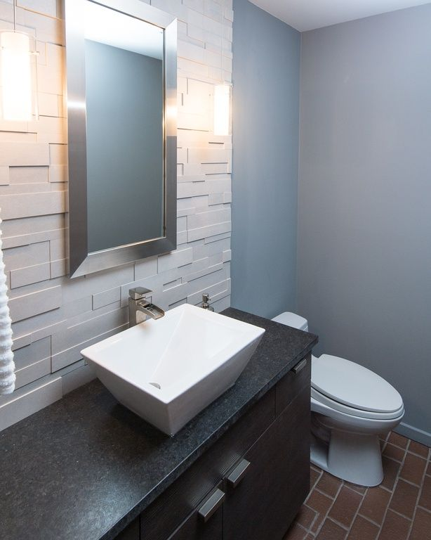 Contemporary Powder Room With Paint Flush Paint 1 Full Backsplash Wall Sconce Vessel Sink