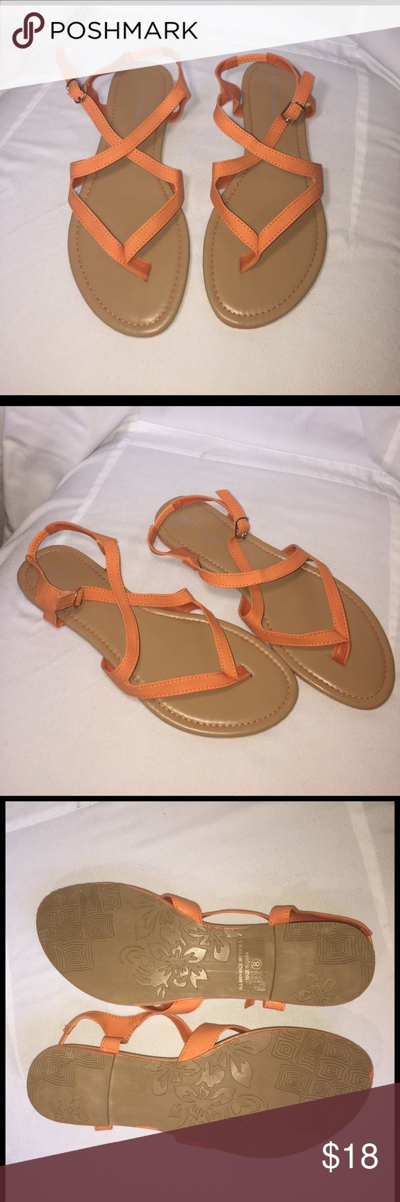 ✨Orange Strappy Sandals ✨ Brand New in original box. Orange Strappy thong Sandals. Top Moda Shoes Sandals