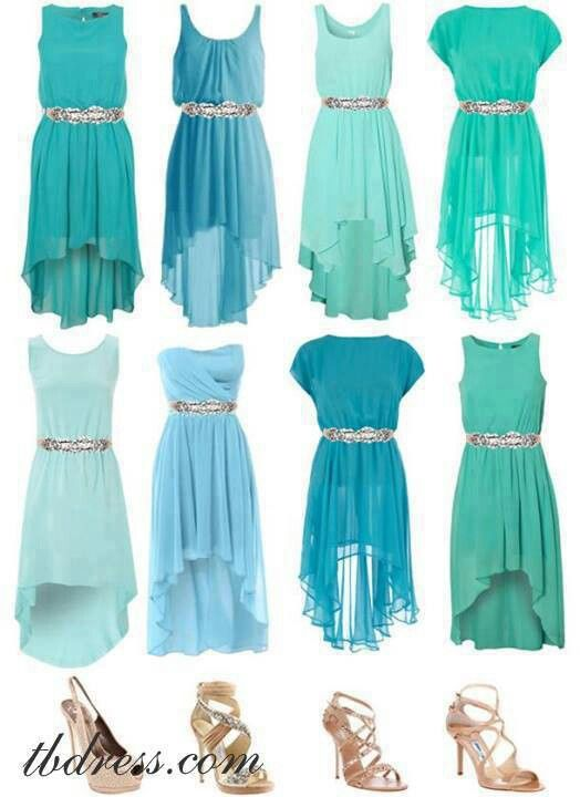 bridesmaid dresses? i think they should be all different! =) any style similar color