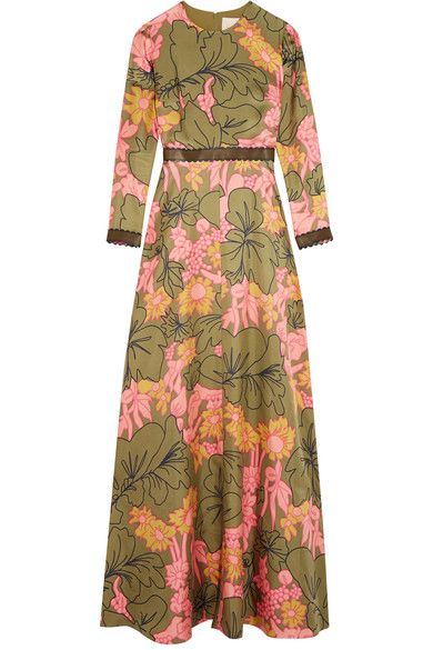 Roksanda - Kamanev Leather-trimmed Floral-print Silk-twill Gown - Green - UK