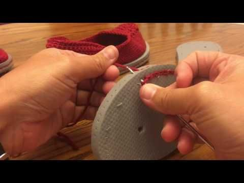 YouTube showing how to crochet into a flip-flop base.