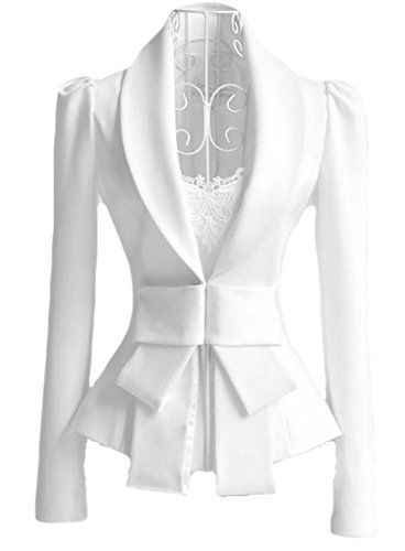OURS Women's Big Bowknot Career White Slim Suit Blazer Coat Jacket Tops (XL, White)