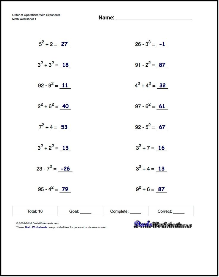 Order of Operations Worksheets for Order of Operations ...