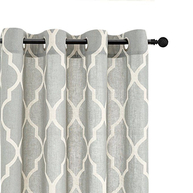 Amazon Com Moroccan Tile Printed Linen Curtains 95 Inch Long For Bedroom Curtain Living Ro Moroccan Tiles Pattern Window Curtains Living Room Patterned Linens