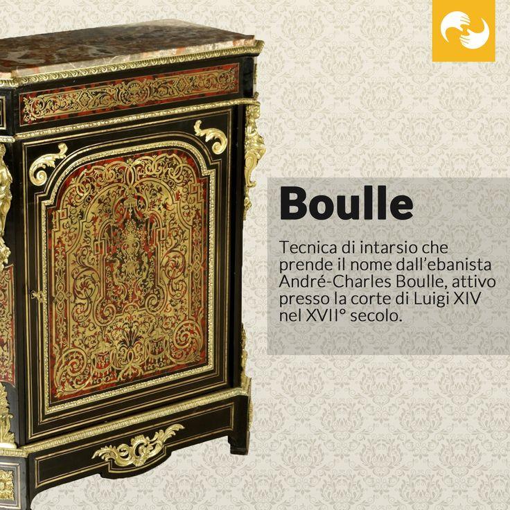 Boulle: tecnica di intarsio che prende il nome dall'ebanista André-Charles Boulle, attivo presso la corte di Luigi XIV nel XVII° secolo. #GlossarioAntiquario