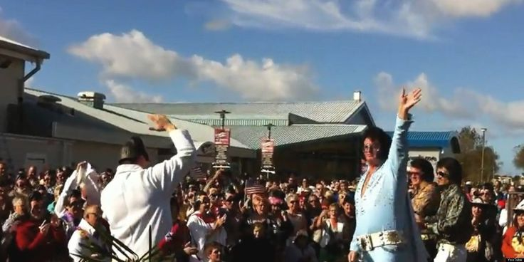 Dressing up? 814 'Elvies' at the Porthcawl Elvis Festival in 2012 claimed a new world record for the largest gathering of Elvis impersonators - they sang Hound Dog together!