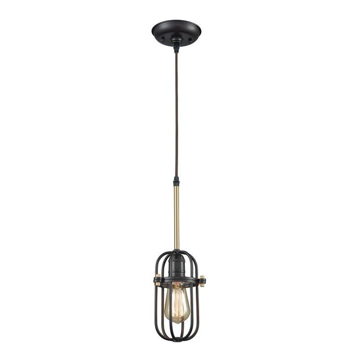 Binghamton 1 Light Pendant In Oil Rubbed Bronze And Satin Brass - Includes Recessed Lighting Kit 65216/1-LA
