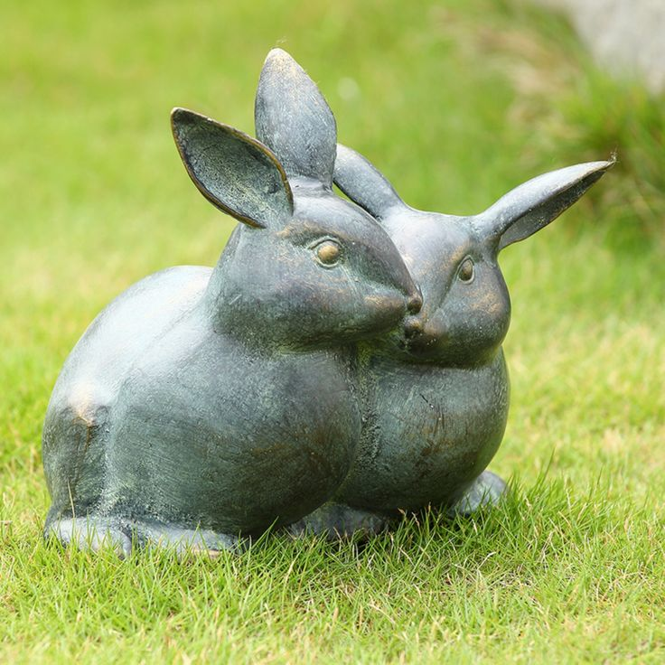 San Pacific International Snuggling Bunnies Key Box Garden Statue - 34039