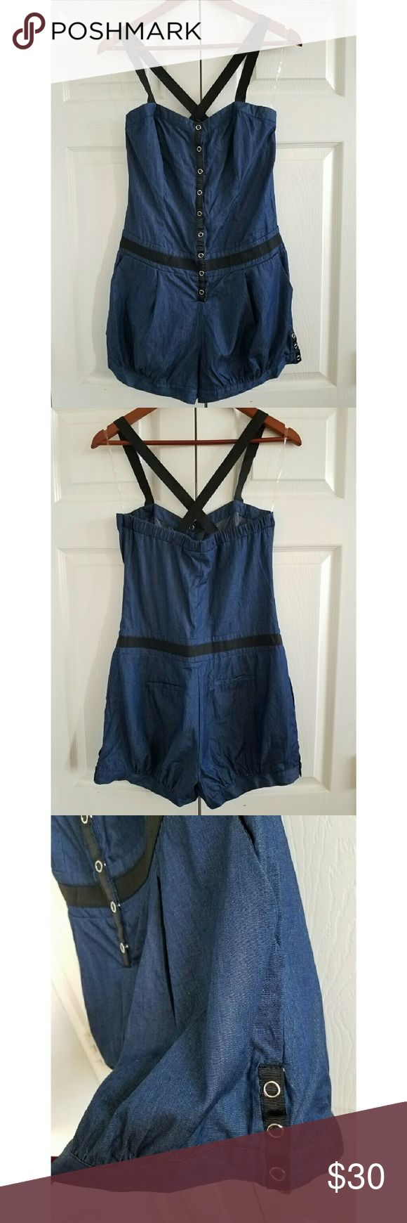 Jean Romper Jean Romper with crisscross elastic straps. Snap front closure with back pockets. Pants Jumpsuits & Rompers