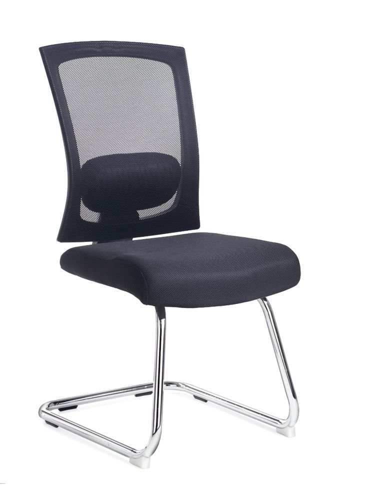 Gemini Mesh / Fabric Visitors Chair In Black Without Arms   London Office  Interiors