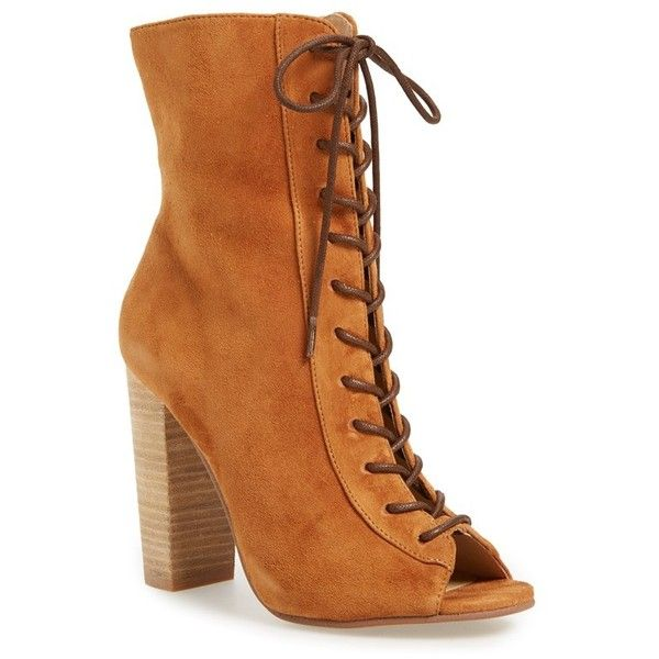 """Kristin Cavallari 'Lawless' Lace-Up Bootie, 4"""" heel ($180) ❤ liked on Polyvore featuring shoes, boots, ankle booties, ankle boots, caramel suede, lace up booties, open toe lace up booties, suede bootie and lace up ankle booties"""