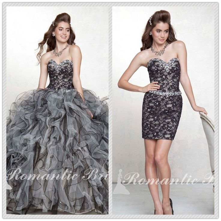 Chic Heavy Beading Bodice Strapless Ball Gown Ruffled Sequins Floor Length Party Gray detachable skirts quinceanera dresses US $209.00