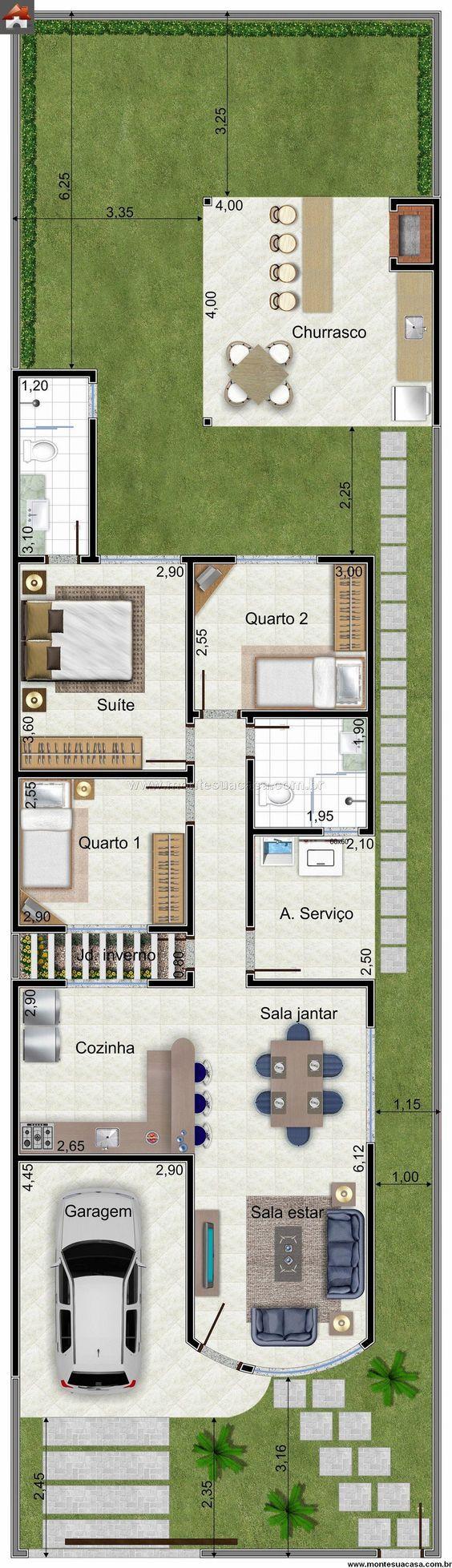 Casa 3 Quartos - 81.45m²:                                                                                                                                                                                 Mais