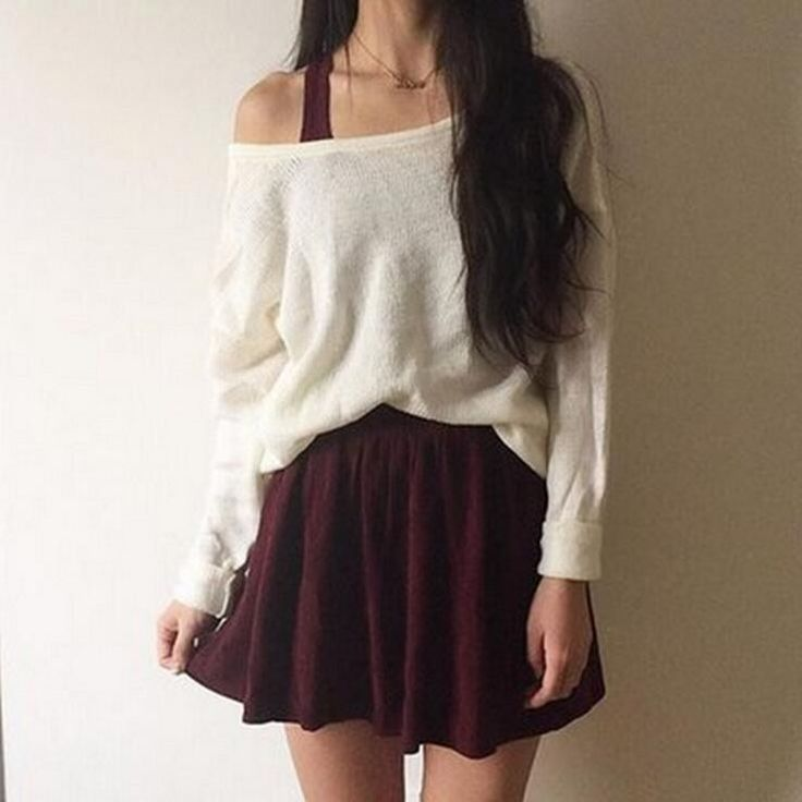 Solid round neck loose sweater