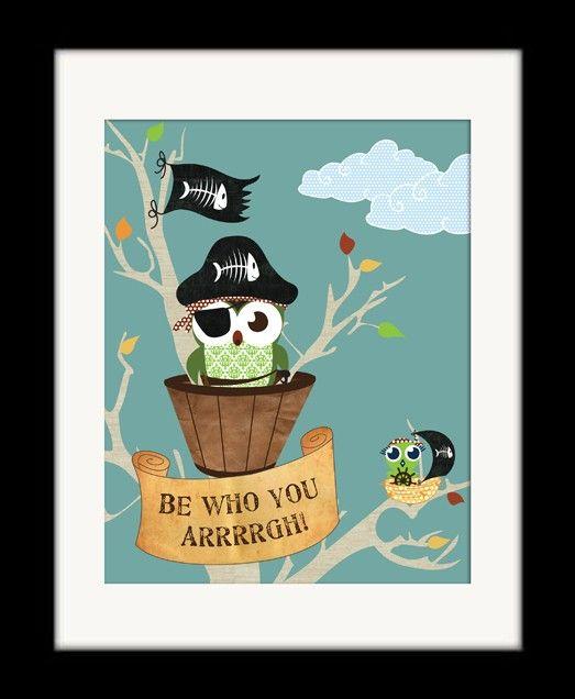 Owl Poster, Pirate Owls Bedroom Decor, Blue Kids Art Print, Blue Owl Pirate Bedroom Art Print, 11x14 Pirates & Owls Poster. $21.00, via Etsy.