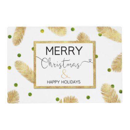 Merry Christmas Gold Glitter Script - Placemat - glitter glamour brilliance sparkle design idea diy elegant