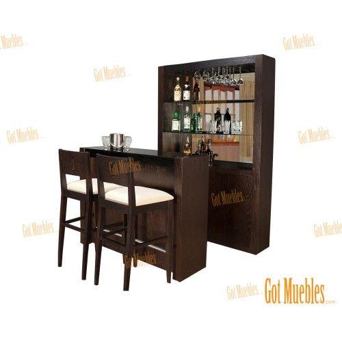 Barra cantina estilo contemporáneo. Mueble muy equipado con cubierta negro, tabla deslizable con fórmica para preparación de bebidas, cajón para accesorios, cava para vinos, copero y entrepaño para licores y botanas.