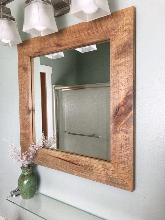 Vanity Mirror Modern Rustic Contemporary Etsy In 2021 Wood Framed Bathroom Frame