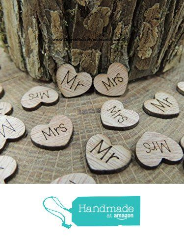 100 Mr Mrs Wooden Hearts - Wood Table Confetti, Embellishments, Scatters, Invitations, Table Decor, Rustic Weddings and Events from Church House Woodworks L.L.C. http://www.amazon.com/dp/B01E2RF3U8/ref=hnd_sw_r_pi_dp_Z6Bvxb0MAEFR1 #handmadeatamazon