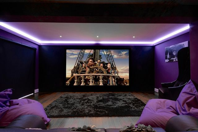 Family Cinema Room, featuring Artcoustic 5.1 speakers, JVC Projector and Rako Lighting. Design by Cinema Rooms #movienight...x