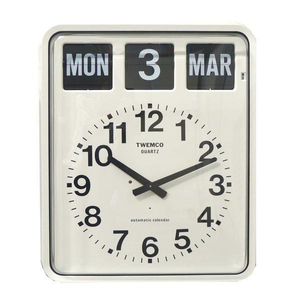 Perpetual Flip Clock, Bankers, White, 42cm