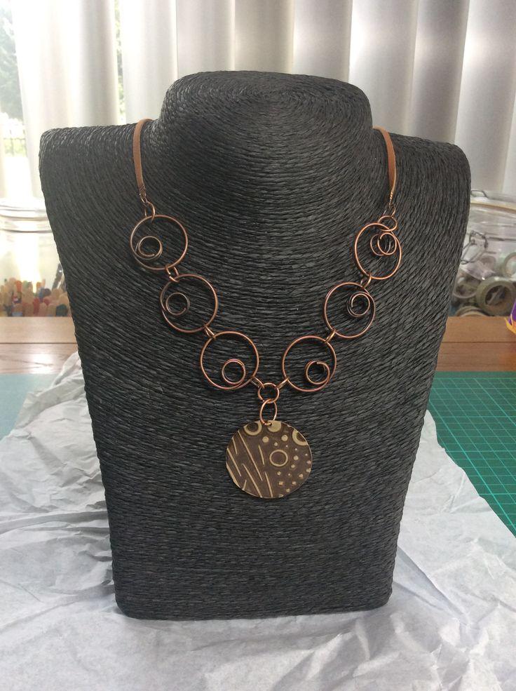 Neclace circles copper, vintaj, ranger, utee
