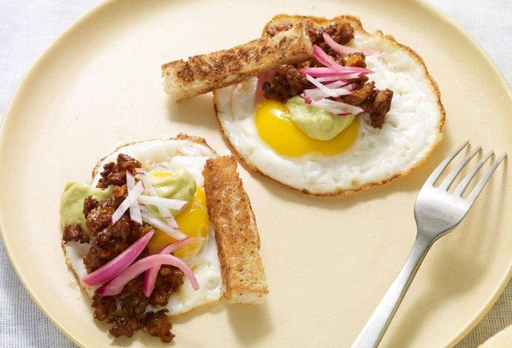 Pati Jinich » Fried Egg Taco with Pine Nut Pipián