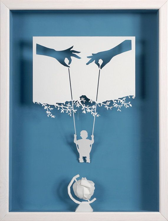 Mom Dad me and the world  Paper cut and paper by ArtPapier on Etsy, $7.00