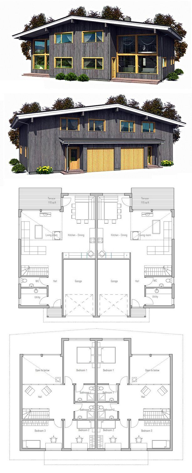 46 best duplex house plans images on pinterest duplex for Contemporary duplex plans