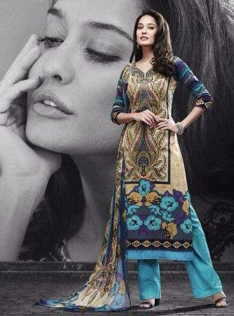 Mayur 532 - Beige & Blue Color Pakistani Style Cotton Designer Suit