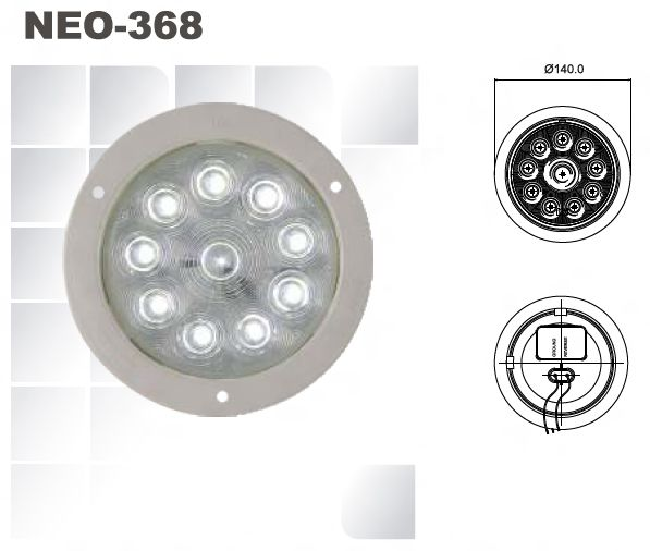 """4"""" Clear Reverse Function Lamp Operating Voltage : 9 – 16 Volts Meets FMVSS - 108 requirements Grommet - PVC Flange - ABS Housing : ABS Lens : PMMA (Acrylic)"""