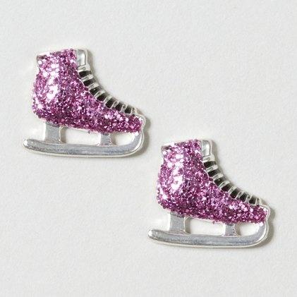 For An Ice Skating Princess Glitter Skates Stud Earrings