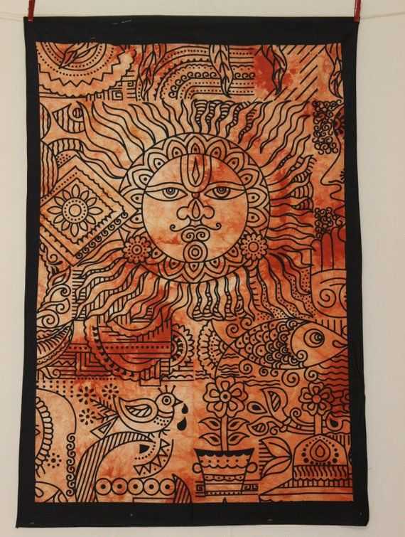 Red Sun Wall Poster Cotton Wall Hanging Hippie Wall Decor Good Luck Trippy Wall Tapestry Indian Wall Decor Art Bohemian Tapestry Tapestry Indian Wall Decor