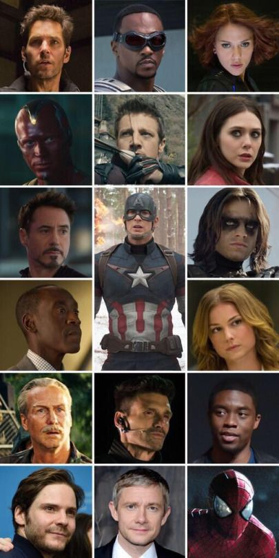 the cast of captain america:civil war