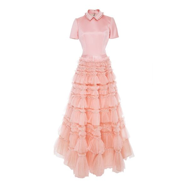 Viktor & Rolf Embellished Tulle Ruffle Gown (38.470 DKK) ❤ liked on Polyvore featuring dresses, gowns, pink, tiered ruffle dress, pink ruffle dress, pink evening dress, ruffle dress and pink tulle gowns