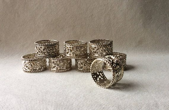 Vintage Napkin Rings MidCentury Silverplate Filagree-French