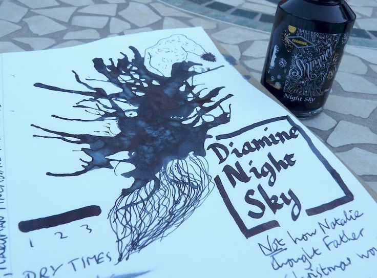 The Diamine Shimmertastic Night Sky fountain pen ink in use. Please click through for a full review.