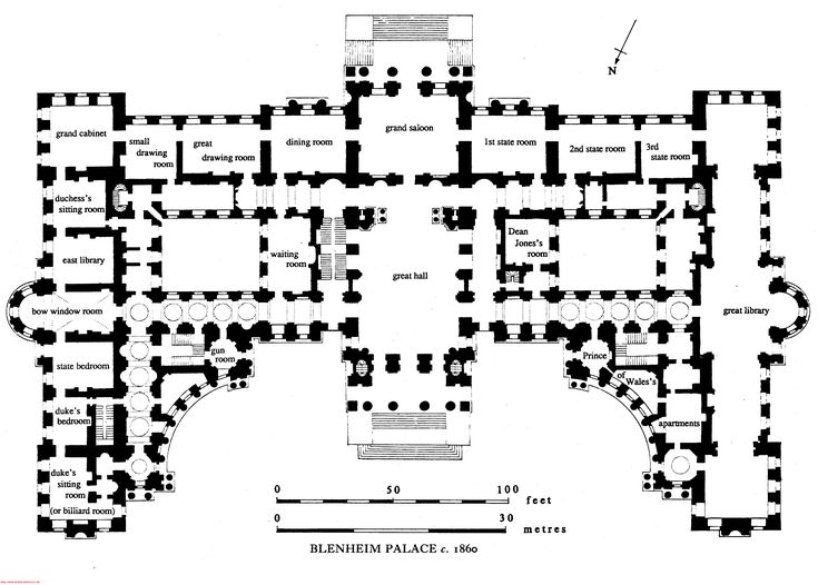 Blenheim palace first floor plan c 1860 before for Palace plan