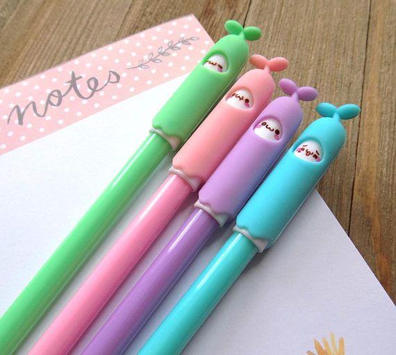 Bean sprout gel pen set of 4 pens super cute kawaii gel pens
