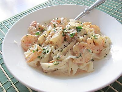 Light Fettuccine Alfredo with Shrimp, Sun Dried Tomatoes and Roasted ...