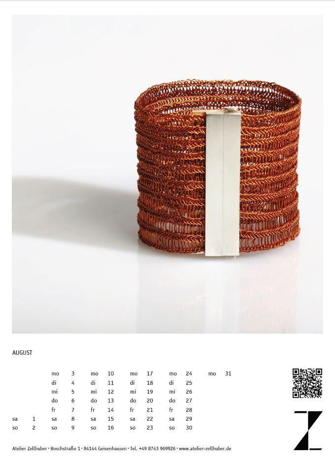 Kalenderblatt #Schmuckkalender 2015 Monat August, www.atelier-zellhuber.de