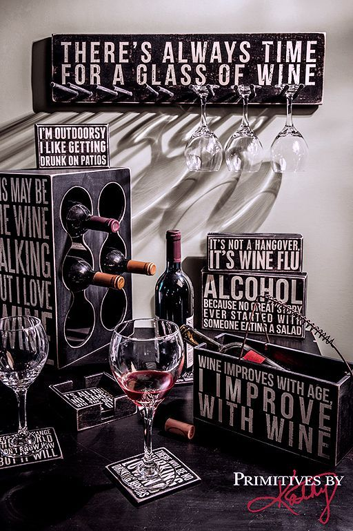 Attention wine lovers! Host your next wine tasting in style with these wine themed decorative accessories from Primitives by Kathy.
